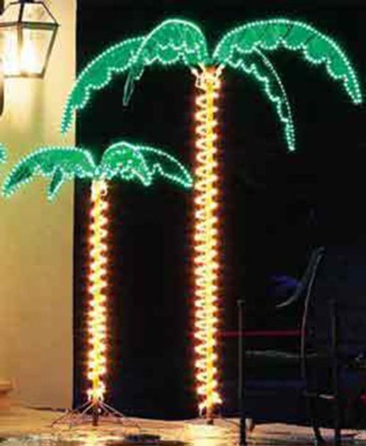 Outdoor Lighted Palm Tree - 7' Holographic Rope Light Decoration for ...