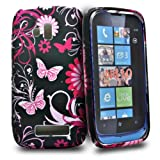 Phonedirectonline - Pink / Black butterfly design flower silicone case cover for Nokia lumia 610