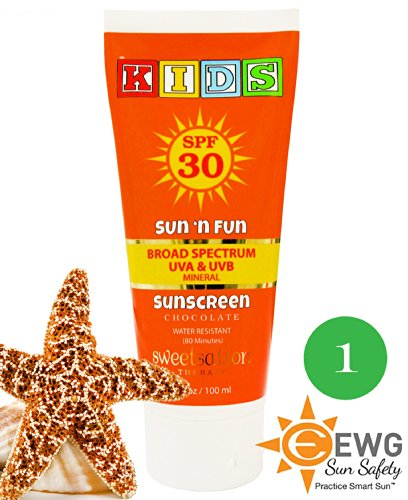 Sun'N'Fun Broad Spectrum Mineral Sunscreen For Kids Spf 30, With Antioxidants, Marshmallow And Chocolate, 3.3Oz New Formula 2014
