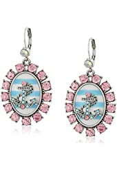 """Betsey Johnson """"Anchors Away"""" Anchor Striped Cameo Drop Earrings"""