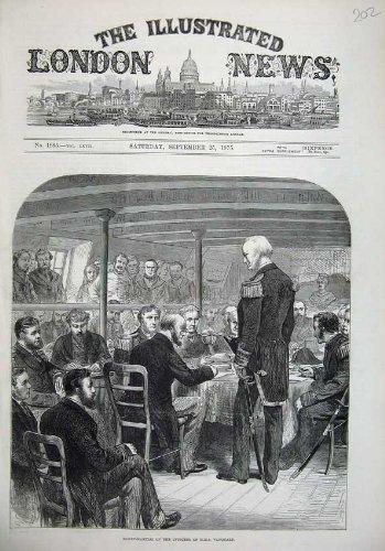 1875 Court-Martial Officers H.M.S Vanguard Ship Art