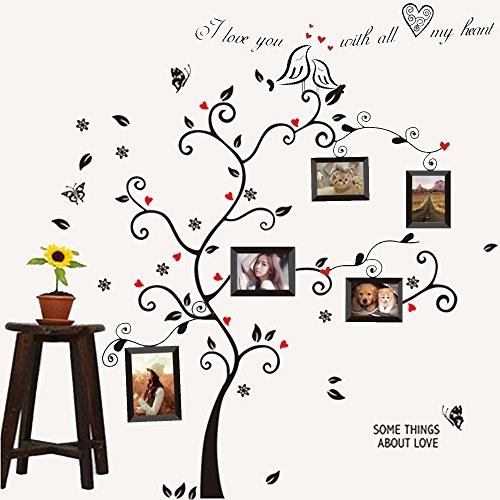 Colorful-Decals©Black Photo Picture Frame Tree Decal Removable Wall Decals Home Decor Large Wall Stickers & Murals Wall Decal Wallpaper and Wall Décor Decorative Painting Supplies & Wall Sticker for Living Room bedroom wallpops decal