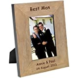 Engraved Oak Wood Veneer Photo Picture Frame ~ Wedding Guests (Best Man, 6 x 4)
