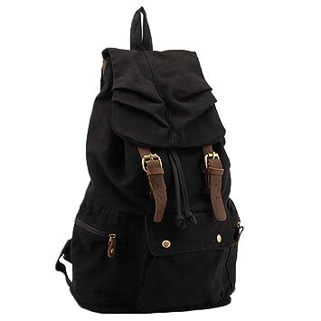 7969095302797     hot hot hot Sale P.KU.VDSL® MULTIFUNKTIONS CASUAL CANVAS Leder  Rucksack RUCKSACK COLLEGE SCHOOL BAG Laptop-Tasche SATCHEL TRAVEL BAG  (Black) ...