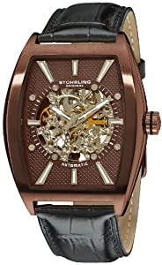 Stuhrling Original Men's 182C3.336559 Leisure Millennia Master Automatic Skeleton Bronze Tone Watch Set