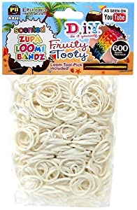 D.I.Y. Do it Yourself Bracelet Zupa Loomi Bandz 600 Fruity Tooty White Coconut Scented Rubber Bands with 'S' Clips