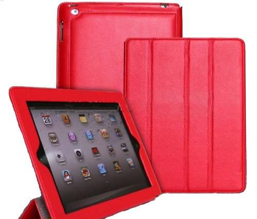 Incelux Leather Smart Case for Apple Ipad 2 16gb, 32gb, 64gb, Wifi&3g, Red