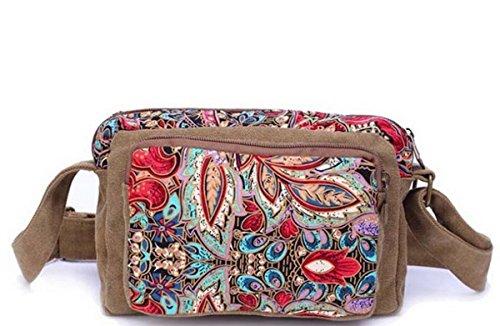 Multi tasche Zip leggero Cross Body Bag Borsa a tracolla Messenger Bag, 4Donna Style, (Farbe 4), Mittel