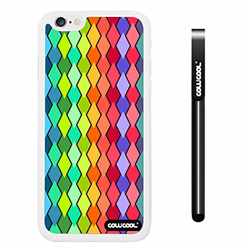 CowCool® Apple iphone 6 4.7 Inch Soft Silicone Colorful Plaid Totem White Shell Single Layer Protective Case (#1)