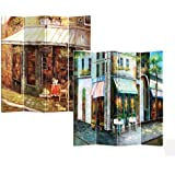 Roundhill 4-Panel Double Sided Canvas Painting Room Divider Screen, Corner Store