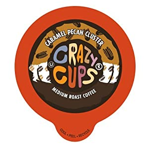 Crazy Cups Caramel Pecan Cluster Flavored Coffee Single serve Cups for Keurig K cup Brewer