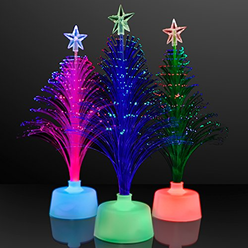 Assorted Color Light Up Fiber Optic Christmas Tree Centerpieces (Set Of 3)
