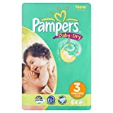 Pampers Baby-Dry Size 3 Midi Nappies - 2 x Economy Packs of 64 (128 Nappies)by Pampers