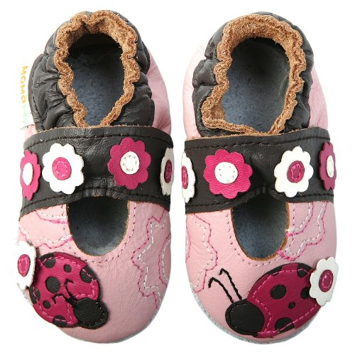 Momo Baby Infant/Toddler Ladybug & Flower Mary Jane Pink Soft Sole Leather Shoes - 6-12 Months/3-4 M Us Toddler front-932525