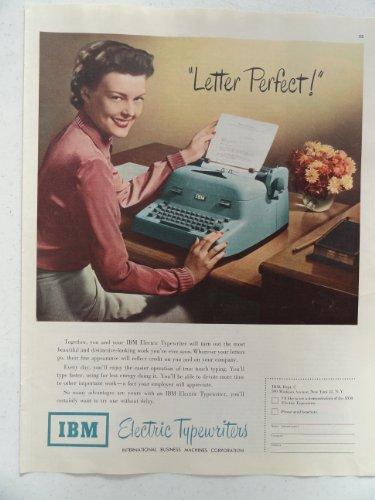 Ibm Electric Typewriters, Vintage 50'S Full Page Print Ad (Woman/Typewriter)Original Vintage 1950 Collier'S Magazine Print Art.