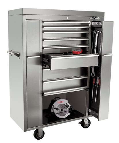 Viper Tool Storage V4108UBSS 41-Inch 8-Drawer 18G Stainless Steel Rolling-Inch Ultimate Box-Inch Tool Cabinet