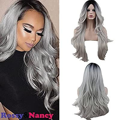 Rossy&Nancy Two Tones Cheap Synthetic Long Wave Heat Resistant Wig Free Part Ombre Black Rooted Silver Gray 130% High Density for Women