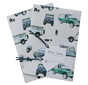 Land Rover Defender inspired gift wrap with spaniel, Labrador and collie dogs