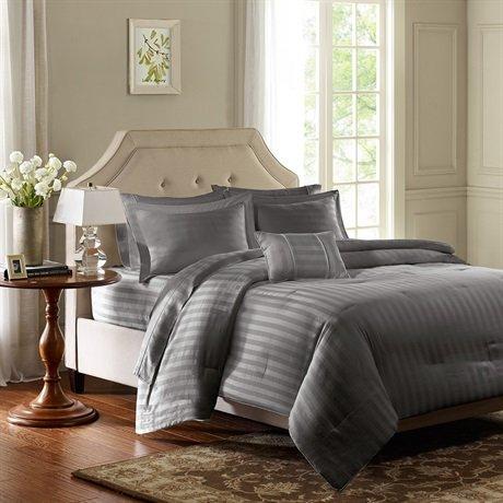 Madison Park 300Tc Cotton Damask Stripe 4Pcs Comforter Set - Grey - King front-174204