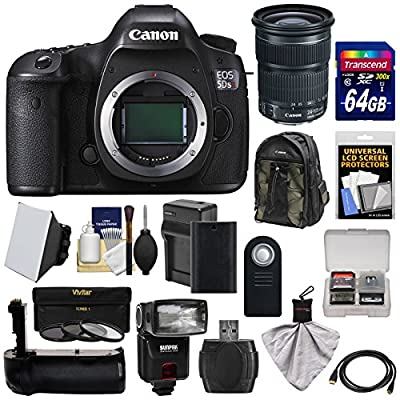 Canon EOS 5DS R Digital SLR Camera Body with 24-105mm STM Lens + 64GB Card + Battery & Charger + Backpack + Grip + Flash + Kit