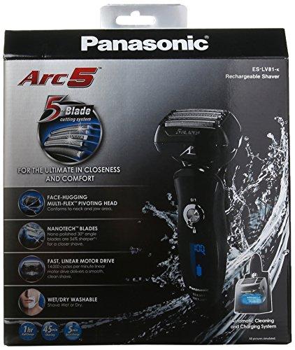 """松下顶级旗舰 Panasonic ES-LV81-K Arc 5 """"安莱钢""""5刀头干湿剃须刀(带清洁桶)图片"""