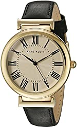 Anne Klein Women's AK/2136CRBK Gold-Tone and Black Leather Strap Watch