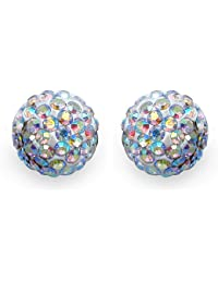 Johareez 2.40 Grams Rainbow Crystal .925 Sterling Silver Ball Shape Stud Earrings For Women