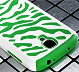 myLife (TM) White and Green Zebra Stripe Design (2 Piece Hybrid Bumper) Hard and Soft Case for the Samsung Galaxy S4