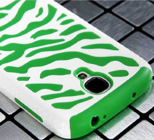 """Mylife (Tm) White And Green Zebra Stripe Design (2 Piece Hybrid Bumper) Hard And Soft Case For The Samsung Galaxy S4 """"Fits Models: I9500, I9505, Sph-L720, Galaxy S Iv, Sgh-I337, Sch-I545, Sgh-M919, Sch-R970 And Galaxy S4 Lte-A Touch Phone"""" (Fitted Back So"""