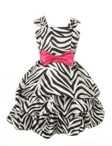 Cinderella Couture Girls Zebra Print Pick Up Party Dress 4 Fuchsia (1152Z)