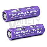 2 Efest Purple IMR 18650 35A 2500mAh 3.7v Rechargeable Flat Top Batteries