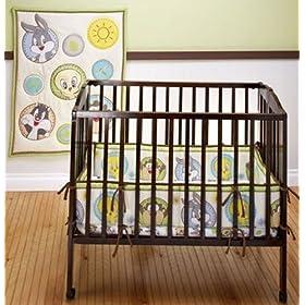 Baby Looney Tunes Portable Crib Bedding 3-piece Set Circles