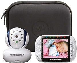 """Motorola Babyphone Vidéo avec écran 3,5"""" et pochette de voyage - MBP34T - Blanc"""