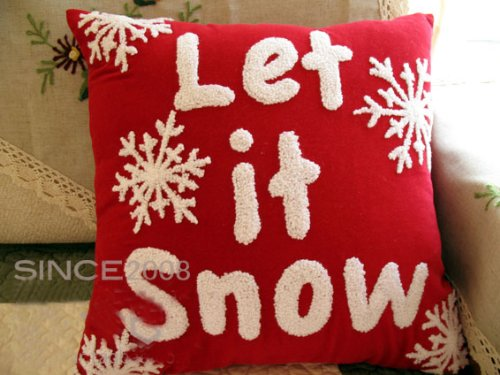Handcraft Cotton & Linen Embroided Velvet Cushion Cover-Christmas Snow