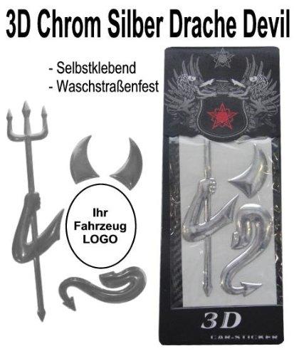 3D Chrom / Silber Aufkleber Teufel Devil - Auto Emblem VW / Opel / Fiat / Mercedes