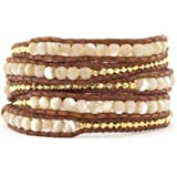 Lin Suu Jewelry Brown Leather Wrap Bracelet Graduated Pearlescent Goldtone Beads 34 inches 5 Wraps