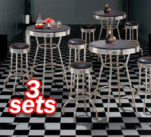 3x 3pc Black Wood Bar Table & Commercial Restaurant Chrome Black Swivel Barstool Set 29