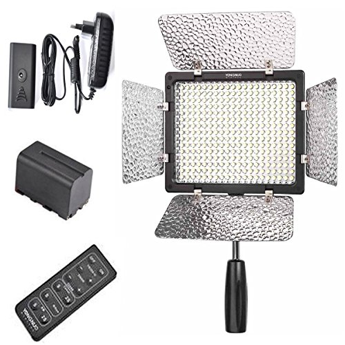 Yongnuo Yn-300 Ii Led Video Light with 1 Ac Power Adapter and Battery 4400mah for Canon EOS Kiss X6i X5 X50 X4 X3 X2 F Digital X N Camera SLR Dslr Illumination Lamp Camcorder