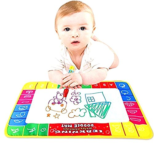 Large Design 80*60cm,Kid Water Drawing Mat for Toddlers, YiaMia® Baby Children Aqua Scrawl Painting Pad Writing Board With Magic Pen Doodle Game Child Toy Learning Harmless Recycle Coloring - 1