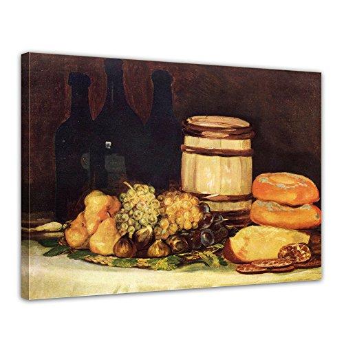 """Bilderdepot24 Leinwandbild Francisco de Goya - Alte Meister """"Stillleben mit Früchten, Flaschen, Broten"""" 70x50cm - fertig gerahmt, direkt vom Hersteller"""