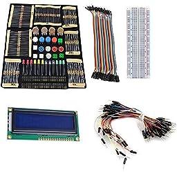Mihappy Basic Starter Kit with Switch, Color Led, LCD Module,Breadboard,Resistors,Rotary Potentiometer for Arduino UNO R3 Mega2560 Mega328 Nano