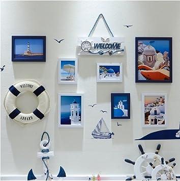 HJKY marco de la foto conjunto de la pared Sala de estar comedor sala de la pared de fondo pared autoadhesivo pegatinas 3d sólida pared pegatinas marco pegatinas pegatinas de la carta, 7D blanco azul