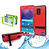 Samsung galaxy Note 4 IP-68 Untra Kick-stand Waterproof Case Cover ,Nika shop Swimming Diving New Full Body Crystal 6.6 Ft Underwater Attached Screen Protector Waterproof Water Resistant Heavy Duty Slim Case Cover for Samsung galaxy Note 4 Phone, Rugged Hard Armor Underwater Durable Full Body Sealed Protection Skin Pouch dirtproof dustproof Snowproof Sweatproof Shockproof Hard Armor Protective Heavy Duty Defender Built-in Screen Protector Rugged Cover Case for Samsung galaxy Note 4 +Free Screen Protect + Hand Strap - Retail Packaging(Nika shop-Red)