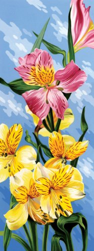 Reeves 17-1/4-Inch by 6-1/4-Inch Tall Paint by Number Kit, Peruvian Lily - 1