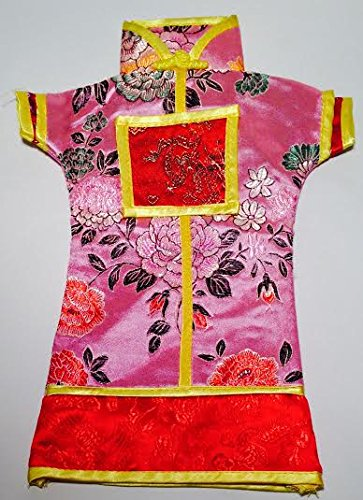 Pink and Red Finely Detailed Oriental Brocade Wine Bottle Cover