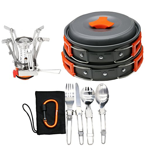 16pcs Camping Cookware Stove Carabiner Folding Spork Set Bisgear(TM) Outdoor Camping Backpacking Non-stick Cooking Non-stick Picnic Bowl Pot Pan , Folding Spork , Mini Stove with Piezo Ignition (Folding Frying Pan compare prices)