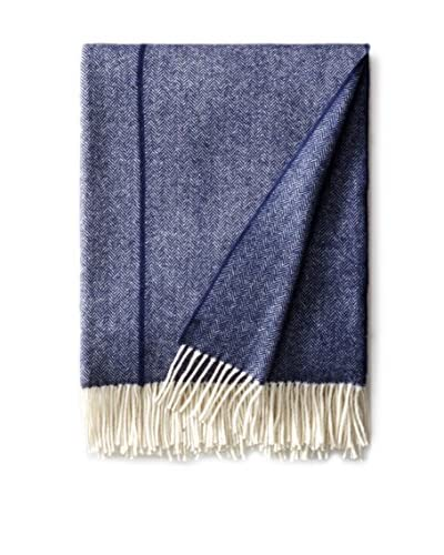 Foxford Atlantic Herringbone Throw, Blue/White Mix