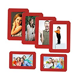 NovoGifts Red Magnetic Picture Frame Collage For Refrigerator 6PCS for One Set