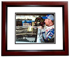 Dale Earnhardt Jr. Autographed Hand Signed Racing 8x10 Photo - MAHOGANY CUSTOM FRAME by Real Deal Memorabilia
