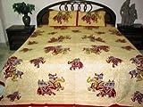 3 Pc Bedspread Cotton India Bedding Wheat Maroon Elephant Print